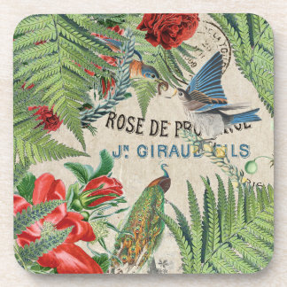 Peacock Bluebird Birds Rose Flowers French Coaster