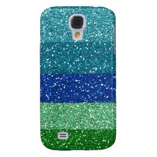 Peacock Blues Greens Glitter Effect Stripes Galaxy S4 Case