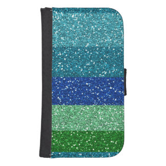Peacock Blues Greens Glitter Effect Stripes Samsung S4 Wallet Case