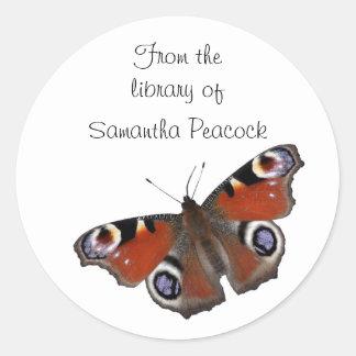 Peacock butterfly bookplate sticker