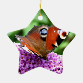PEACOCK BUTTERFLY CERAMIC STAR DECORATION