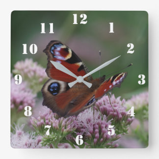 Peacock Butterfly Clock