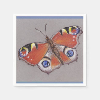 Peacock Butterfly Cocktail Napkins Disposable Serviettes