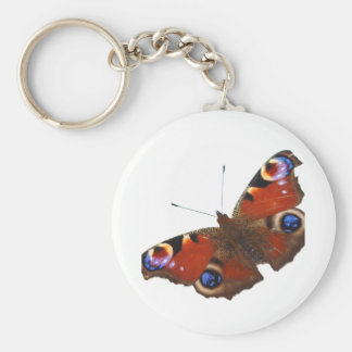 Peacock Butterfly design Basic Round Button Key Ring