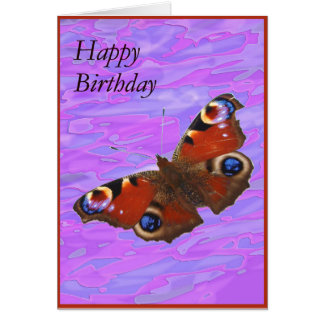 Peacock Butterfly happy birthday Greeting Card
