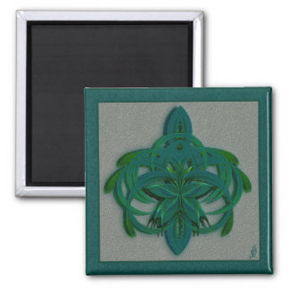 Peacock Butterfly in Flight Abstract Art Square Magnet