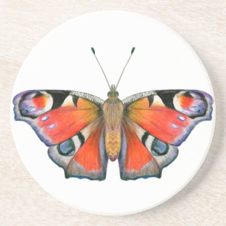 Peacock Butterfly Painting Watercolour Coaster