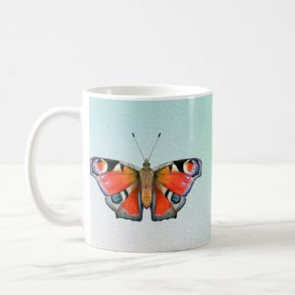 Peacock Butterfly Painting Watercolour Coffee Mug