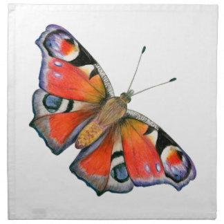 Peacock Butterfly Painting Watercolour Napkin
