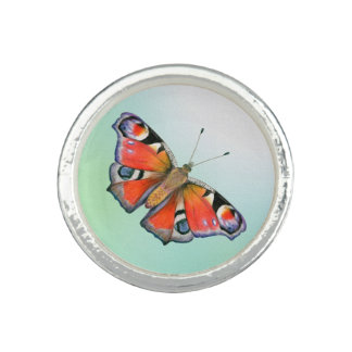 Peacock Butterfly Painting Watercolour Ring