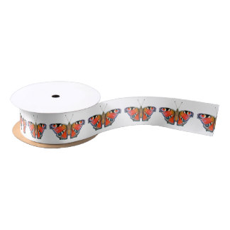 Peacock Butterfly Painting Watercolour Satin Ribbon
