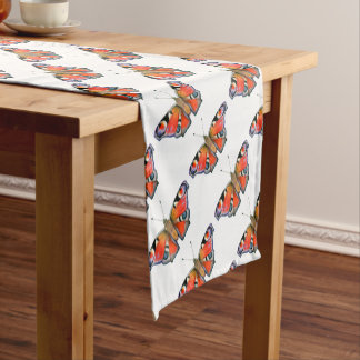 Peacock Butterfly Painting Watercolour Short Table Runner