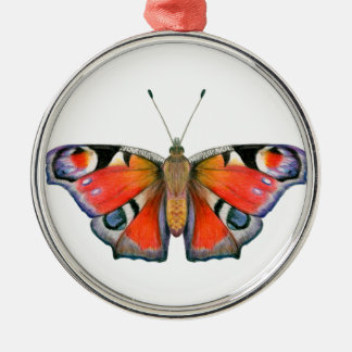 Peacock Butterfly Painting Watercolour Silver-Colored Round Decoration