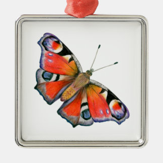 Peacock Butterfly Painting Watercolour Silver-Colored Square Decoration