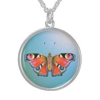 Peacock Butterfly Painting Watercolour Sterling Silver Necklace