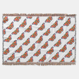 Peacock Butterfly Painting Watercolour Throw Blanket