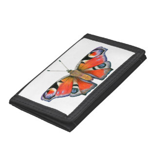 Peacock Butterfly Painting Watercolour Trifold Wallet