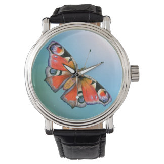 Peacock Butterfly Painting Watercolour Watch