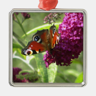Peacock Butterfly Silver-Colored Square Decoration