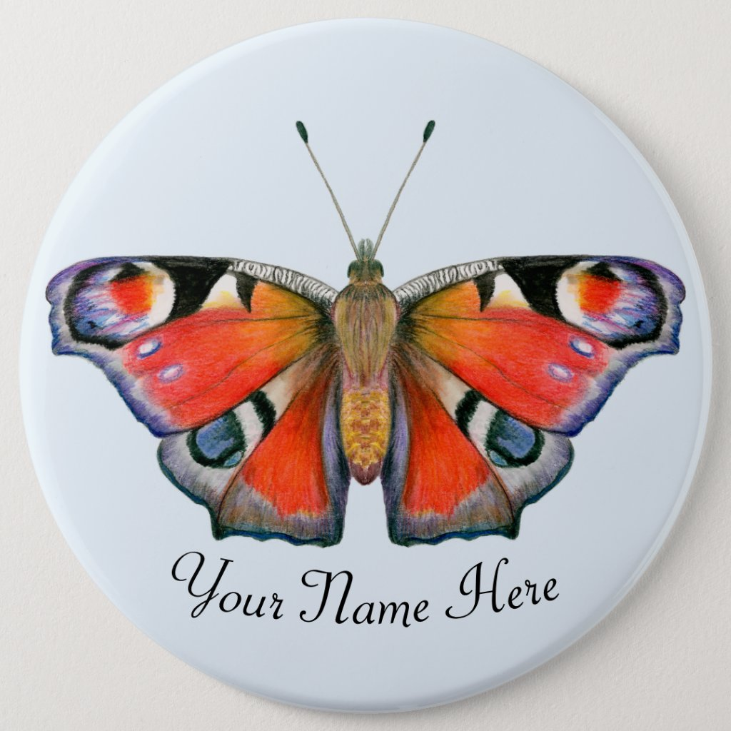 Peacock Butterfly WatercolorArtwork 6 Cm Round Badge