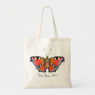 Peacock Butterfly WatercolorArtwork Tote Bag