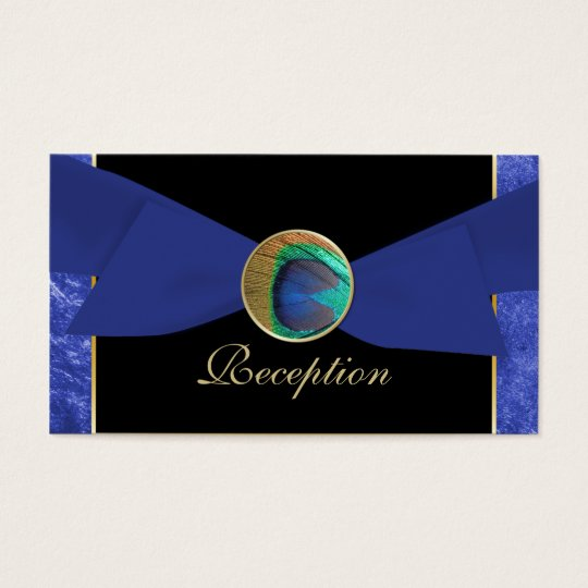 Peacock Button & Bow Reception Enclosure Cards