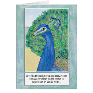 Peacock Cartoon Funny Birthday Greeting Card