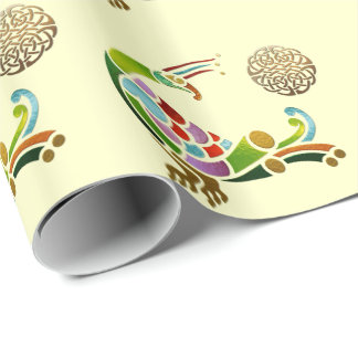 Peacock Celtic Deco Jeweled Wrapping Paper