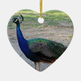 Peacock Ceramic Heart Decoration