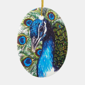 PEACOCK CERAMIC OVAL DECORATION