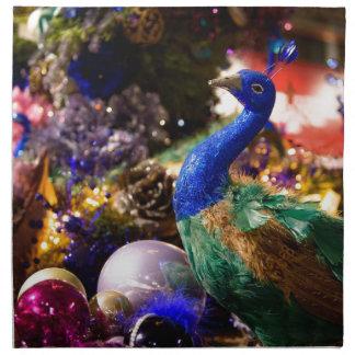 Peacock Christmas Design Napkin