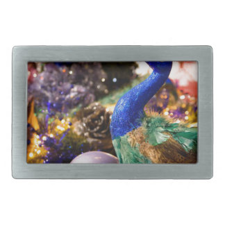 Peacock Christmas Design Rectangular Belt Buckles