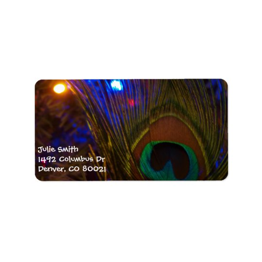 Peacock Christmas Feather Address Label