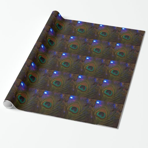 Peacock Christmas Feather Gift Wrapping Paper