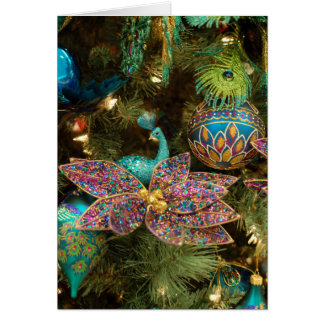 Peacock Christmas Holiday Tree Card