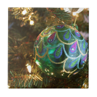 Peacock Christmas Ceramic Tiles