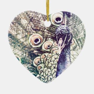 peacock, color, oil painting, australia ceramic heart decoration