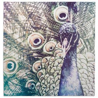 peacock, color, oil painting, australia napkin
