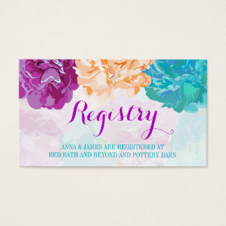 Peacock Colored Flowers Wedding Registry Card