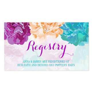 Peacock Colored Flowers Wedding Registry Card Pack Of Standard Business Cards