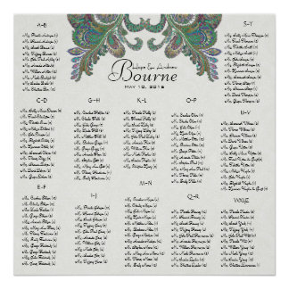 Peacock Colors - 100 to 150 guests - alphabetical Poster