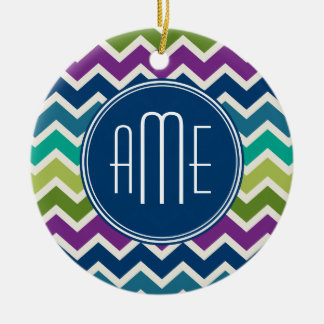 Peacock Colors Chevron Pattern Custom Monograms Christmas Ornament