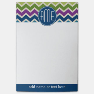 Peacock Colors Chevron Pattern Custom Monograms Post-it Notes