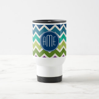 Peacock Colors Chevron Pattern Custom Monograms Travel Mug