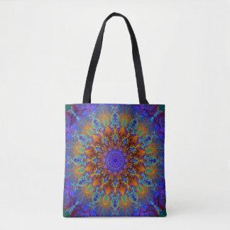 Peacock-colors romantic mandala ornament arabesque tote bag