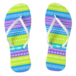 Peacock colors with overlaid sewing stitches flip flops
