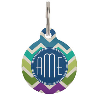Peacock Colours Chevron Pattern Custom Monograms Pet Name Tag
