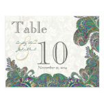 Peacock Colours Paisley Wedding Table Number