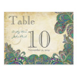 Peacock Colours Paisley Wedding Table Number Postcard