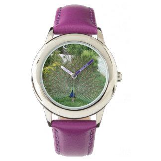 Peacock Custom Stainless Steel Purple Watch